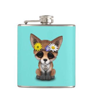 Cute Baby Fox Hippie Hip Flask