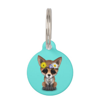 Cute Baby Fox Hippie Pet Name Tag