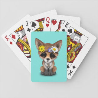 Cute Baby Fox Hippie Playing Cards