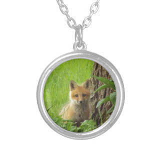 Cute baby fox in springtime photograph silver plated necklace