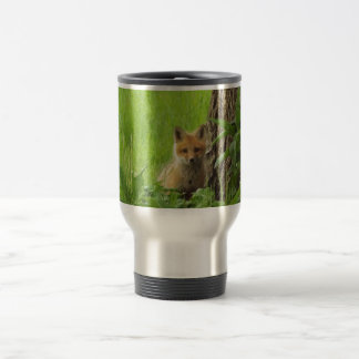 Cute baby fox in springtime photograph travel mug