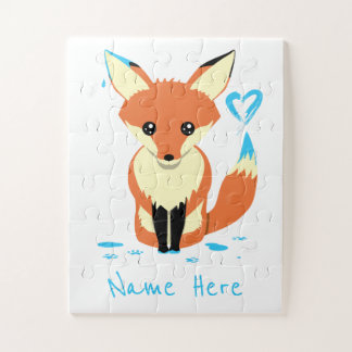 Cute Baby Fox Paints Blue Heart Name Puzzle