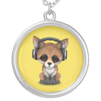 Cute Baby Fox Wearing Headphones Silver Plated Necklace