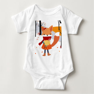 Cute baby fox wolf girl in happy time baby bodysuit