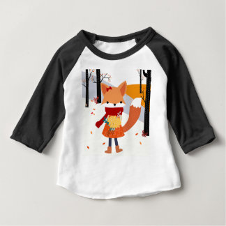 Cute baby fox wolf girl in happy time baby T-Shirt