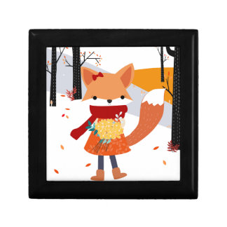 Cute baby fox wolf girl in happy time gift box