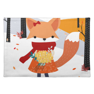 Cute baby fox wolf girl in happy time placemat