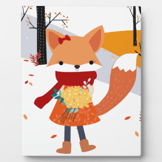 Cute baby fox wolf girl in happy time plaque