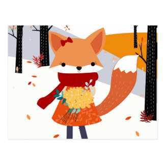 Cute baby fox wolf girl in happy time postcard