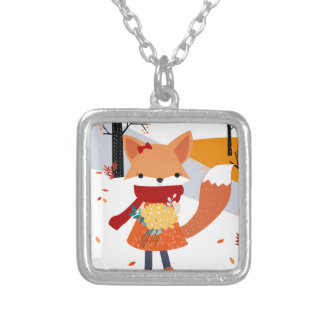 Cute baby fox wolf girl in happy time silver plated necklace