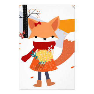Cute baby fox wolf girl in happy time stationery