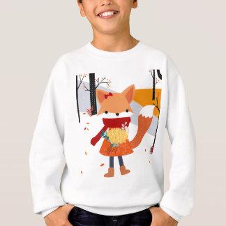 Cute baby fox wolf girl in happy time sweatshirt