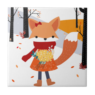 Cute baby fox wolf girl in happy time tile