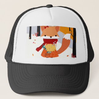 Cute baby fox wolf girl in happy time trucker hat