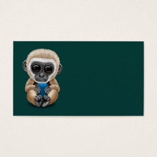 Cute Baby Gibbon Holding a Cell Phone Teal