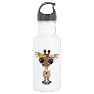 Cute Baby Giraffe Hippie 532 Ml Water Bottle