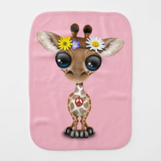 Cute Baby Giraffe Hippie Burp Cloth