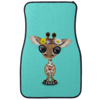 Cute Baby Giraffe Hippie Car Mat