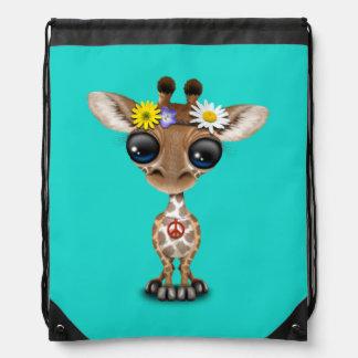 Cute Baby Giraffe Hippie Drawstring Bag