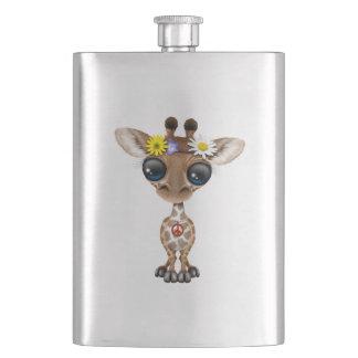Cute Baby Giraffe Hippie Hip Flask
