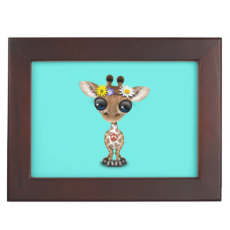 Cute Baby Giraffe Hippie Keepsake Box