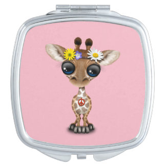Cute Baby Giraffe Hippie Makeup Mirrors