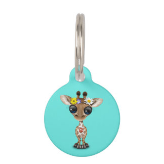 Cute Baby Giraffe Hippie Pet Name Tag