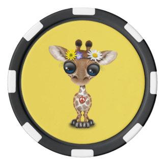 Cute Baby Giraffe Hippie Poker Chips