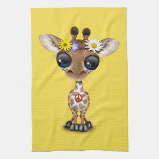 Cute Baby Giraffe Hippie Tea Towel