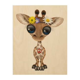 Cute Baby Giraffe Hippie Wood Print