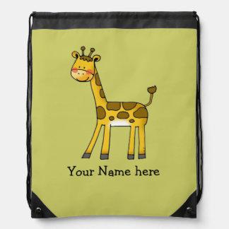 cute baby giraffe - just add name drawstring bag