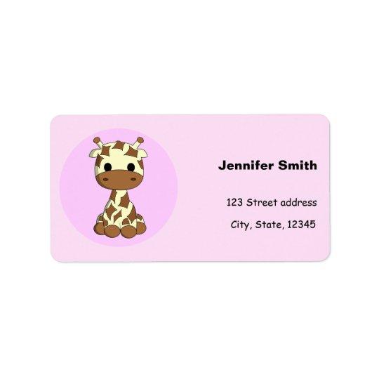 Cute baby giraffe kawaii cartoon girls address label