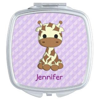 Cute baby giraffe kawaii cartoon name mirror compact mirrors