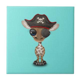 Cute Baby Giraffe Pirate Small Square Tile