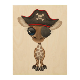 Cute Baby Giraffe Pirate Wood Wall Decor