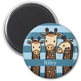 Cute Baby Giraffe Trio, Add Child's Name 6 Cm Round Magnet