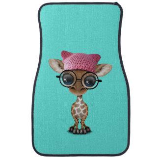 Cute Baby Giraffe Wearing Pussy Hat Car Mat