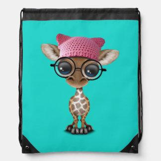 Cute Baby Giraffe Wearing Pussy Hat Drawstring Bag