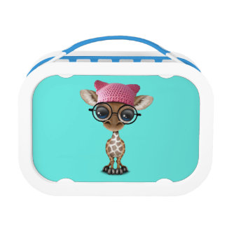 Cute Baby Giraffe Wearing Pussy Hat Lunch Box
