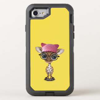 Cute Baby Giraffe Wearing Pussy Hat OtterBox Defender iPhone 8/7 Case