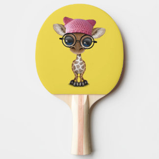 Cute Baby Giraffe Wearing Pussy Hat Ping Pong Paddle