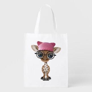 Cute Baby Giraffe Wearing Pussy Hat Reusable Grocery Bag