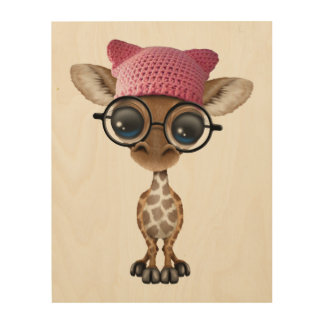 Cute Baby Giraffe Wearing Pussy Hat Wood Print