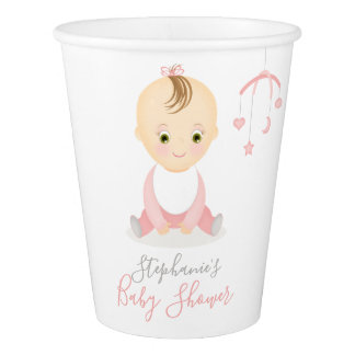 Cute Baby Girl and her Mobile Baby Shower Paper Cup