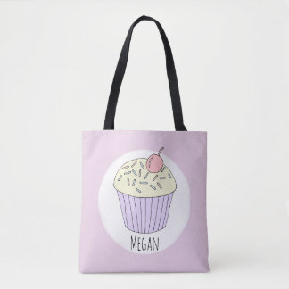 Cute Baby Girl Cupcake Muffin with Name Diaper Tote Bag