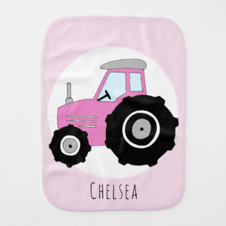 Cute Baby Girl Doodle Pink Farm Tractor with Name Burp Cloth
