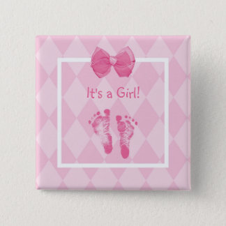 Cute Baby Girl Footprints Birth Announcement 15 Cm Square Badge