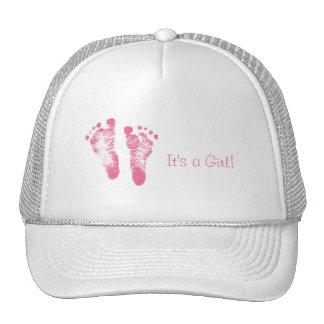 Cute Baby Girl Footprints Birth Announcement Cap