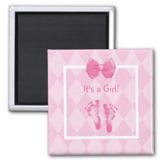 Cute Baby Girl Footprints Birth Announcement Square Magnet