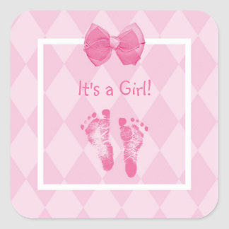 Cute Baby Girl Footprints Birth Announcement Square Sticker